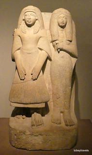 Amenemipet (chief priest of Mut) and his wife, Imhotep Museum, Saqqara.JPG