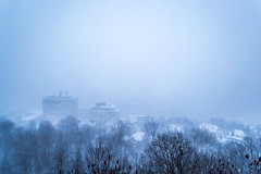 Mont Royal (ChabelaFoto) Tags: town snow heurebleue bluehour winter hiver montreal quebec montroyal tempete storm city montagne mountain rural urbain paysage landscape nuit soir night bleu blue