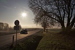 Foggy morning ride to Rehau (christian.riede) Tags: weisdorf hochfranken morning sunset fog mist nebel sunstar car road roadsign verkehrszeichen auto