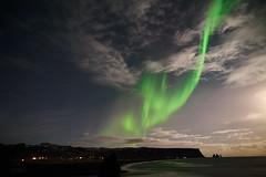Kirkjufjara_aurora_L1090407 (nocklebeast) Tags: auroraborealis iceland kirkjufjarabeach nrd aurora stars ocean beach vik southcoast