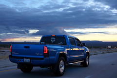 Toyota Tacoma (tamasmatusik) Tags: toyota toyotatacoma pickup pickuptruck vehicle car route route15 freeway highway nevada california mohavecounty mohave mojave sunset sky clouds colors color sonynex sony nex6 sigma sigmalens milc v6 interstate15 march road blue