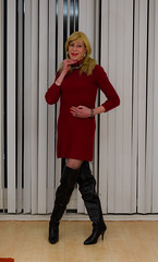 Warm woolen dress. (sabine57) Tags: crossdressing transvestism crossdress crossdresser cd tgirl tranny transgender transvestite tv travestie drag highheels boots otkboots overkneeboots pantyhose tights dress reddress woolendress