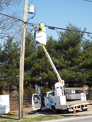 Oh, Hi! (EX22218 - ON/OFF) Tags: pole tree pine truck bucket man spectrum cone orange wires white blue letsguide