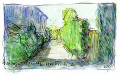 Wolfram Zimmer: Painting while walking - Malen im Gehen by ein_quadratmeter - 16.4.2018, Weg 2, 20x30 cm, Bleistift, Wasserfarben, Farbstifte auf Papier.   16.4.2018, Weg 2, 8x12 inch, pencil, watercolors, colored pencils on paper.  2 Jahre später (April 2018) wollte ich endlich mein Vorhaben, beim Gehen auch zu malen, verwirklichen. Ich ging, mit Wasserfarben malend, den gleichen Weg wie 2 Jahre zuvor. Ich hatte eine vergrößerte Kopie von früher dabei, um diese wackelige Skizze dann beim Gehen zu übermalen. Natürlich musste ich manchmal anhalten, zurückgehen oder im Wiegeschritt auf der Stelle bleiben, weil das Gehen zu schnell war. Das kompliziertere Malen dauerte länger als 3 Minuten, etwa 10 Minuten. Aber man sollte das Gehen im Bild bemerken.  Two years later (April 2018) I finally wanted to realize my intention to paint while walking. I went, painting with watercolors, the same way as 2 years before. I had an enlarged copy of the past to paint over this rickety sketch while walking. Of course, sometimes I had to stop, go back or stay on the spot in the weighing step, because walking was too fast. The more complicated painting took more than 3 minutes, about 10 minutes. But you should notice the going in the picture.