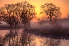 The River Thame at sunrise (ceeko) Tags: 1995 35mm ayearinthelifeof3watermeadows blurbbooks dorchesteronthames england olympusom4 overymeadpiece oxfordshire riverthame film river sunrise transparency dorchester unitedkingdom mist