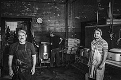 Makin' BBQ (Mike Schaffner) Tags: austinsbarbecue bw barbecue bbq blackwhite blackandwhite cooks crew kitchen monochrome eaglelake texas unitedstates us
