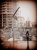 Wondering whether... (Kris Lantijn) Tags: building girl bw monochrome antwerp construction city urban fence antwerptower