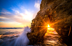 Epic Fine Art Malibu Sea Cave Starburst Sunset: High Res California Pacific Sunset Landscape Seascape Photography!  Sony A7RII & Sony Carl Zeiss FE 16-35mm F4 ZA OSS Wide Angle Zoom Lens! The Golden Ratio in Dr. Elliot McGucken's Fine Art Photography (45SURF Hero's Odyssey Mythology Landscapes & Godde) Tags: epic fine art malibu sunset the golden ratio dr elliot mcguckens photography nature landscape photos seascape california coast coastal landscapes sea cave starburst high res pacific sony a7rii carl zeiss fe 1635mm f4 za oss wide angle zoom lens