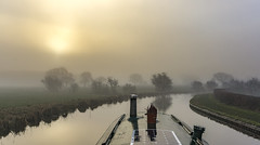 Foggy morning (chaotic river) Tags: barge boat canal early fog lancaster mist morning narrow reflection