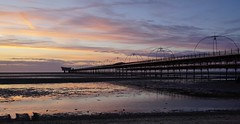 Southport Sunset (JamieHaugh) Tags: southport liverpool merseyside england uk gb greatbritain outdoors sony a6000 sunset evening dusk pier pink purple sand beach coast seaside sea water sky clouds peace quiet reflections ilce6000 zeiss