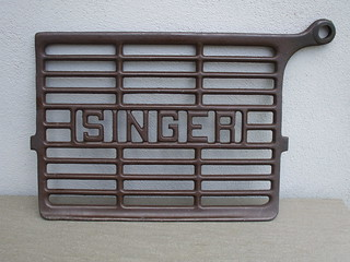 Vintage Cast Iron Singer Sewing Machine Footplate ..Now Used as a Pot Stand