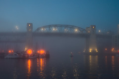 Vancouver Foggy False Creek Evening (Margeaux Nicholas) Tags: burrardbridge burrardstreetbridge falsecreek vancouver boats bridge city ferry fog foggy night reflection sailboats urban water watertaxi winter cans2s britishcolumbia