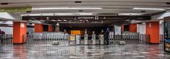 2018 - Mexico City - Patriotismo Metro Station (Ted's photos - For Me & You) Tags: 2018 cdmx coyoacan cropped mexico mexicocity nikon nikond750 nikonfx tedmcgrath tedsphotos tedsphotosmexico vignetting wideangle widescreen metro mexicocitymetro sistemadetransportecolectivo stc faregates bollards