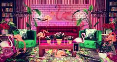 Majesty- The Flamingo Lounge (Ebony (Owner Of Majesty)) Tags: kraftwork kalopsia kalopsiasl jian lucaslameth ariskea fancydecor trompeloeil laqdecor abiss abissdesign applefall sayo aria halfdeer dustbunny majesty majestysl majestyinteriors majesty2018 flamingoes secondlife sl homedecor homeandgarden homes home homesweethome homey decor decorating interiordecor interiordecorating interiors interiordesign lounge livingroom colorful colorfulspaces virtual virtualservices virtualspaces videogames milkmotion