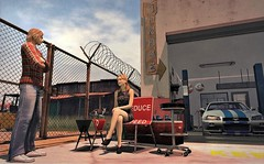 Trip to the garage (ᗷOOᑎᕮ ᗷᒪᗩᑎᑕO) Tags: sl secondlife motorheadz cafe rocket route66 americana american culture barren dessert signage garage car sand dust landscape texas virtual flickr 2018 today painting oil landmarks places retro vintage road