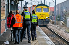 Events get in the way (Peter Leigh50) Tags: freightliner nuneaton station platform people police train freight railway railroad