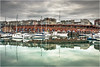 .R.E.F.L.E.C.T.I.O.N. (Kevin HARWIN) Tags: reflection boats buildings windows water sea bricks stones moody sky clouds green blue red ornage canon eos 70d 1755mm lens ramsgate thanet kent uk south east england britain