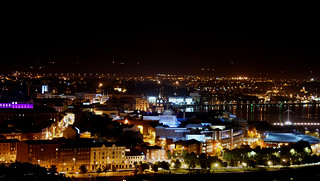 Night view of Derry City from Top of the Hill