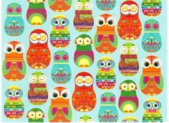 Postcrossing US-5255396 (booboo_babies) Tags: owls matryoshkadolls birds blue postcrossing russian