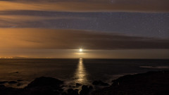 Moon over the Giants Causeway (jac.photography49) Tags: astrophotography clouds cliff 6d exposure headland sea reflections f14 ngc nightsky night images northernireland ireland view sky rocks moon moonlight milkyway stars samyang24 samyang afterdark water