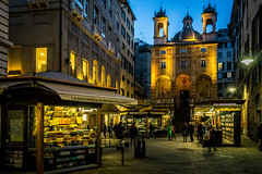 San Pietro in Banchi (cs_one) Tags: ancient genova bancarella building historic church old landmark place italy exterior evening town kiosk street famous urban historical plaza facade travel tower house history architecture square night tourism temple city sanpietro