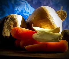 Stone Soup (ForestPath) Tags: macromondaygroup themefairytalesorfolktales stonesoup vegetables carrots garlic tinyonion
