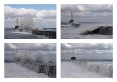 M2185734 E-M1ii 40mm iso200 f5.6 1_1250s SingleAF tile-2 x2 r100 b10 (Mel Stephens) Tags: uk scotland aberdeen coast coastal 20180318 201803 2018 q1 3x2 6x4 wide widescreen structure olympus mzuiko mft microfourthirds m43 40150mm omd em1ii ii mirrorless waves seascape harbour wall light storm beast torry