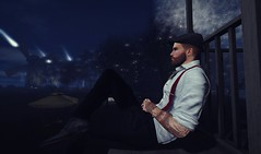 A Night Of Closure (EthanLeigh) Tags: lumipro second life secondlife man formal wear suspenders flat cap starry song music challenge closure