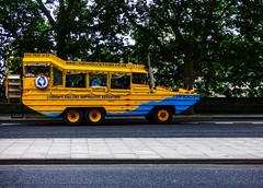 London's Amazing Amphibious Adventure (Steve Taylor (Photography)) Tags: londonsamazingamphibiousadventure ducktour rosalind pipe exhaust lp blue yellow weird strange uk gb england greatbritain unitedkingdom london trees vehicle