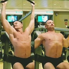 lat pulldowns shirtless (ddman_70) Tags: shirtless workout gym muscle pecs latpulldowns shortshorts