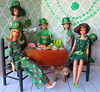 8. Going green (Foxy Belle) Tags: doll barbie st patrick patricks day party diorama green holiday celebrate miniature dollhouse 16 playscale food shamrock dog hudson francie skipper wooden table chairs dining room glitter decorations