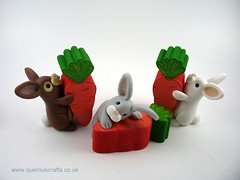 Little Bunnies with Wooden Carots (Quernus Crafts) Tags: polymerclay quernuscrafts cute carrot carrots woodencarrots awesomewoodengifts bunnies rabbits easter