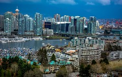 False Creek -  I 💖 Vancouver (Christie : Colour & Light Collection) Tags: marina vancouver falsecreek bc canada harbourcentre lookout view bcplace cambiebridge water boats moored mooring britishcolumbia viewpoint cityofvancouver sailboat cityscape skyscrapers buildings tallbuildings sailboats yachts rooftops bridge clouds atmospheric city condos townhomes