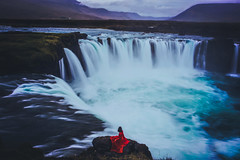 Songs of Souls (West Leigh) Tags: iceland north nordic explore experience dream discover wanderlust wander wandress woman red dress waterfall water landscape blue storm nature naturalbeauty travel travelphotography