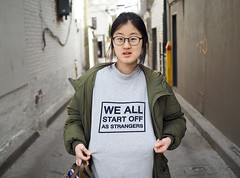 """We All Start Off As Strangers"" (jeffcbowen) Tags: strangers street toronto portrait message"