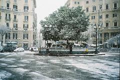 Snow in Naples: Piazza Vanvitelli (Todron) Tags: contax contaxt2 t2 compactcamera compatta sonnar 38mm 38mmf28 zeiss carlzeiss 35mm filmcamera film wide wideangle grandangolo fuji fujifilm superia superia200 fujisuperia200 fujifilmsuperia200 c41 slp1000se negativefilm naples napoli neve snow snowfall piazzavanvitelli