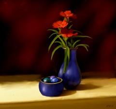 Red flowers, blue vase (edenseekr) Tags: red dianthus flfowers blue glass bowl marbles digitallypainted handpainted corelpainter11