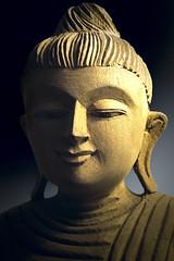 Wooden Buddha Statue (fredMin) Tags: statue buddha portrait light macro head tamron fujifilm buddhism buddhist religion zen