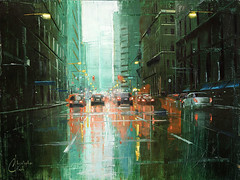 Rain in the City - Denver, 17th and Stout (ChristopherClarkArt) Tags: christopherclarkart christopherclark christopher clark fine art artist paint original oil painting impressionist impressionism denver colorado cityscape street scene downtown city urban architecture buildings rain
