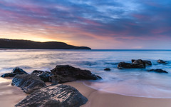 Soft Rocky Dawn Seascape (Merrillie) Tags: daybreak sunrise cloudy australia nsw centralcoast clouds sea newsouthwales rocks earlymorning morning water landscape ocean nature sky waterscape coastal seascape outdoors killcarebeach dawn coast killcare waves