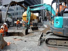 CBD & South East Light Rail  - George and Bathurst Street - Update 31 March 2018 (john cowper) Tags: cselr sydneylightrail georgestreet bathurststreet excavator excavations city transportfornsw tracklaying acconia infrastructure sydney newsouthwales