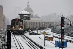 Marcy Av (CrispyBassist) Tags: railroad railway train track transit newyorkcity newyork newyorkcitysubway newyorkcitytransit nyc nyct nycta brooklyn snow snowstorm blizzard signal subway