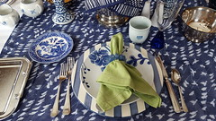Blue on Blue 7 (Mamluke) Tags: blueonblue blue tabletop table flatware glassware dishes china mix mixed tablelinen linen mamluke home blues mixes mixture crystal patterns pattern patterned napkin fork knife spoon cup plate plates glass bowl