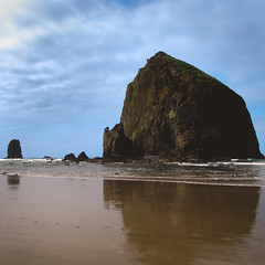 13 / 52 : 1 (Randomographer) Tags: 52weeks haystack rock natural formation beach sea stack cannon oregon popular tourist destination monolithic sky water ocean clouds nature reflection beautiful 13 52 2018