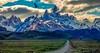The Road to El Chalten (The Happy Traveller) Tags: santacruz argentina ar elchalten patagonia parquenacionallosglaciares southamerica mtfitzroy clouds beautifullandscapes mountains