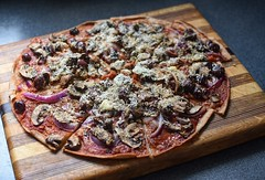 It's What's For Lunch (Jo Zimny says: Happy Earth Day!) Tags: itswhatsforlunch food myslowfoodcreations pizza speltcrust thin mushrooms redonion pizzasauce kalamataolives rawgoatcheese romanocheese yummy wood board kitchencounter