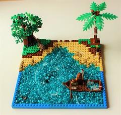 7th Continent (BrickAmazing) Tags: 7thcontinent eau lego plage arbre barque beach water tree boat plastic bag sac plastique brickamazing reality paradise paradis yingandyang
