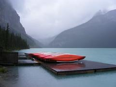 Lake Louise (Rackelh) Tags: mountains lake nature dock canoes travel alberta canada