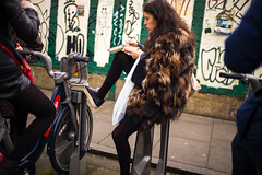 Leg Up (Michael Goldrei (microsketch)) Tags: santander leicam england street shoreditch bike 35mm photos 2017 photographer london uk photography cycle 17 takeaway stands st eastlondon photo cycles sitting mp legs bikes east leicacamera stand asph up february bicycle 35 boris sit lane brick leg old leicamtyp240 typ 14 240 mp240 summilux leicalovers bicycles typ240 feb leica