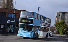 4451 leans leaving Swanswell Street, Coventry (paulburr73) Tags: 4451 coventry swanswellstreet hillfields nxc nationalexpress transbus trident alexander alx400 bus bj03euz